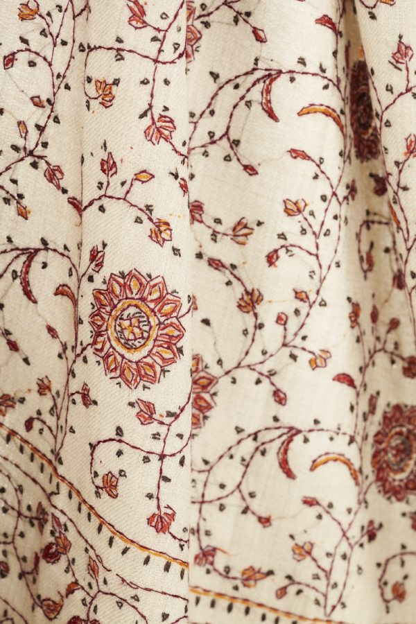 Cashmere Marigold and Paisley Shawl Detail