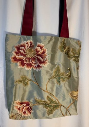 Oriental Peony Opulent Embroidered Silk Bag